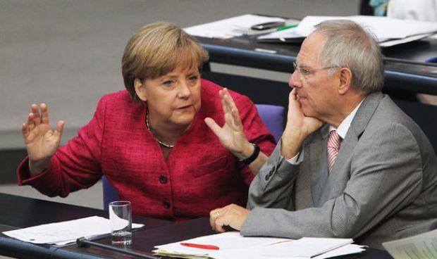 Wolfgang Schaeuble and Angela Merkel