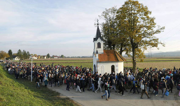 Migrants enter Serbia at the border with Croatia