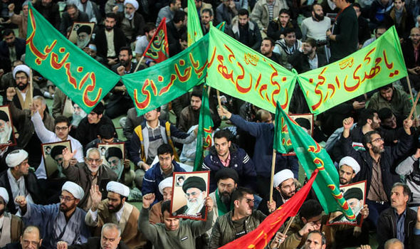Iranians protesting in the street