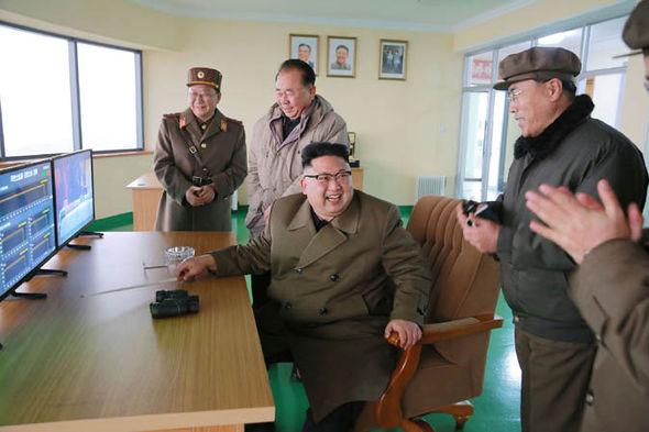 Kim jong-un launching a missile