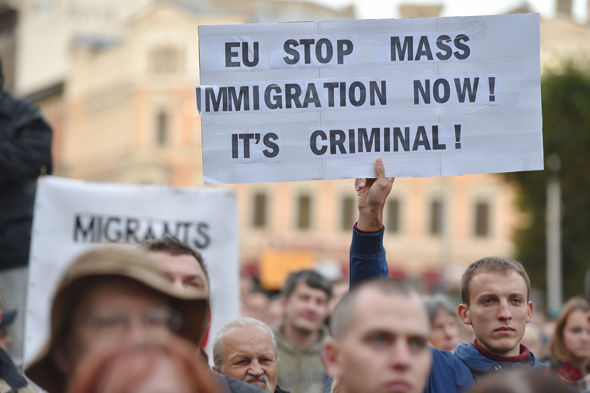 Latvians protesting about the influx of migrants