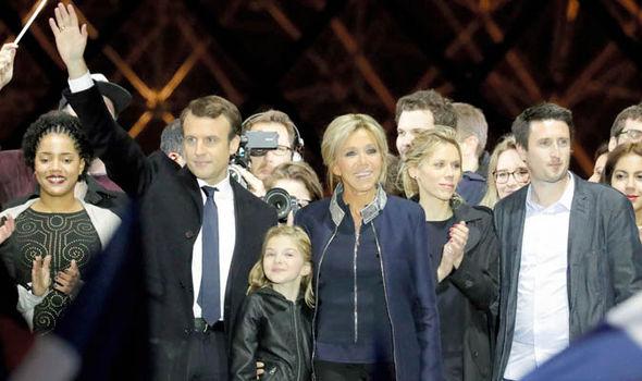 Ms Auzière celebrates Macron's win