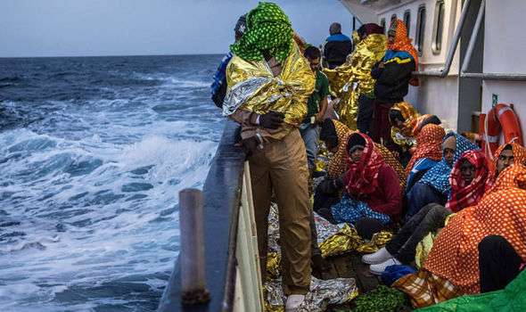 Libyan migrants being rescued