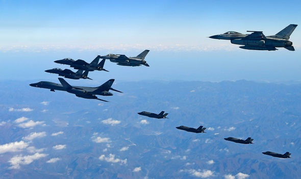 US B-1B bomber and South Korea and US fighter jets
