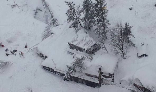 Hotel buried in the snow