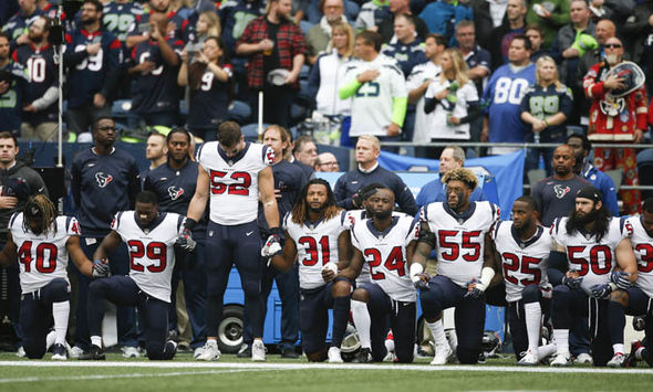 NFL players doing take a knee protest