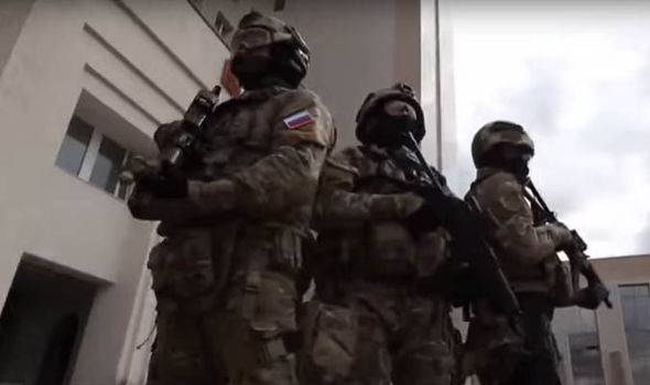 Three Spetsnaz soldiers in uniform