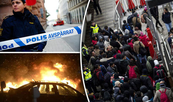 Burning car and swedish police