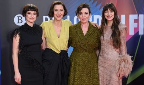 Olivia Colman joins co-star Dakota Johnson at The Lost Daughter UK premiere