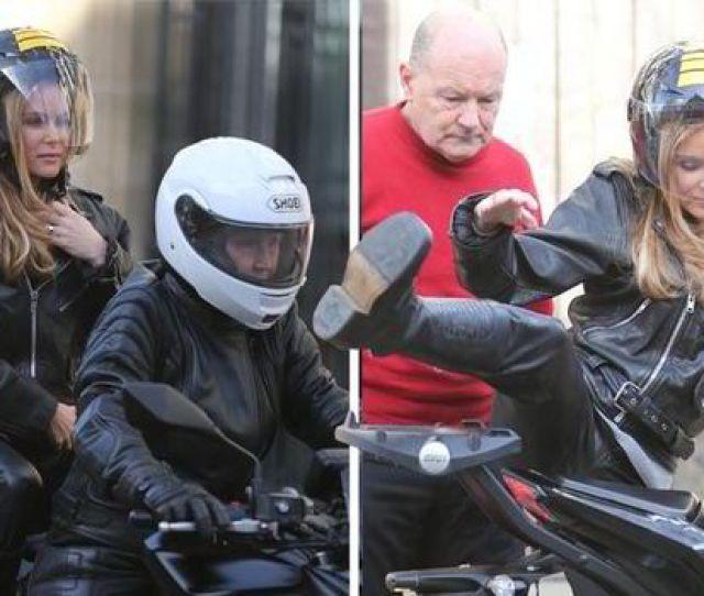 Amanda Holden Left The Itv Studios On A Motorbike
