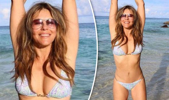 Elizabeth Hurley bikini cleavage boobs Instagram