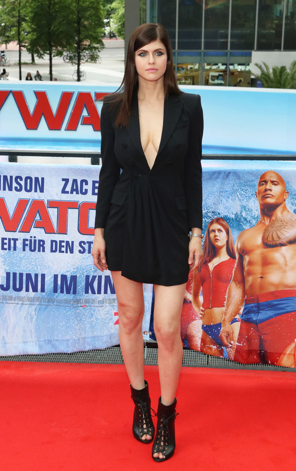 Alexandra Daddario wore a jacket-style dress