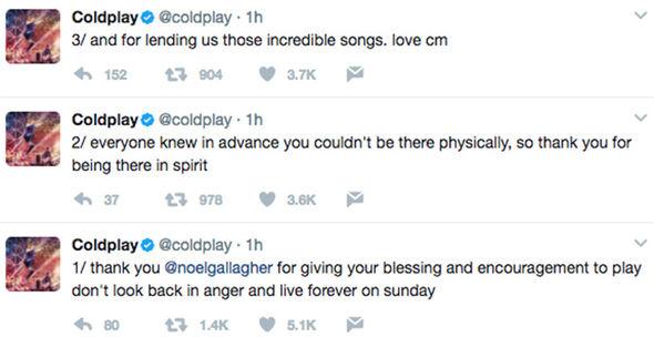 Chris Martin Noel Gallagher Liam Gallagher One Love Manchester Twitter