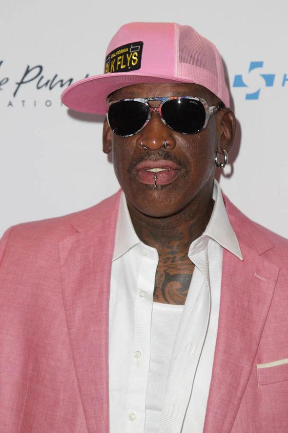 Dennis Rodman in pink clothes