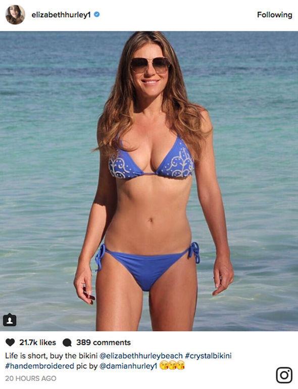 d29d6da180375 Elizabeth Hurley, 51, oozes sex appeal as her ample bust spills out ...