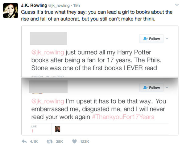 J.K. Rowling Donald Trump Mike Pence Harry Potter Twitter