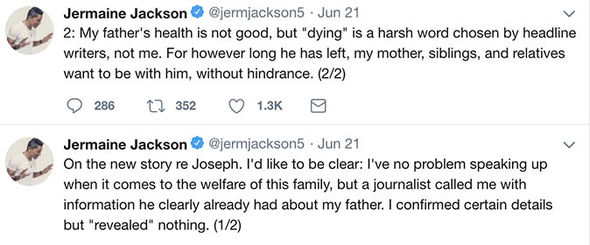 Joe Jackson dead: Jermaine Jackson recently tweeted about his father's health