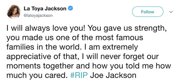 Joe Jackson dead: Latoya Jackson penned a message about her father