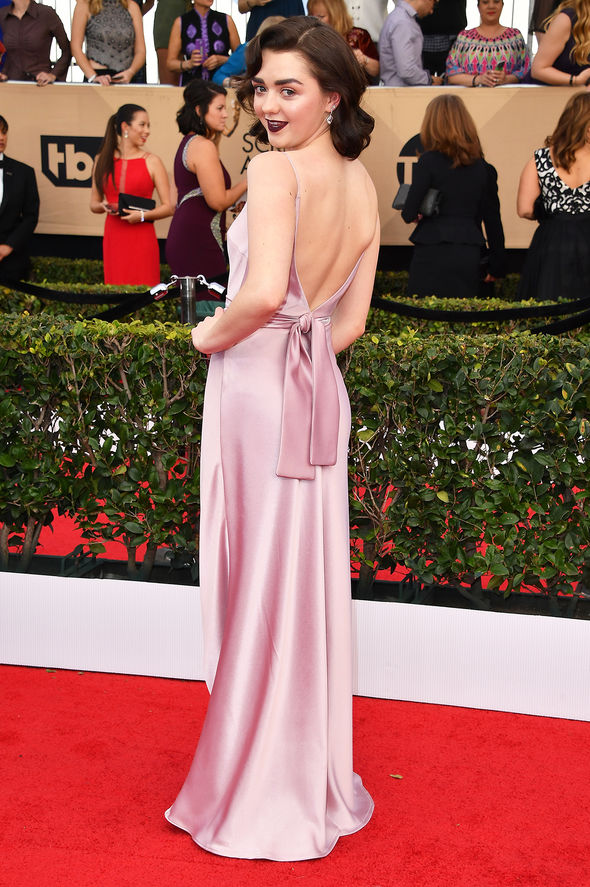 Maisie wore a backless pink gown