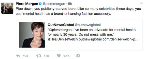 Piers Morgan Denise Welch Twitter mental health Will Young
