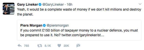 Piers Morgan Gary Lineker Twitter BBC nuclear