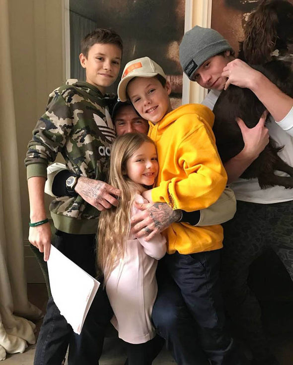 David Beckham with his kids