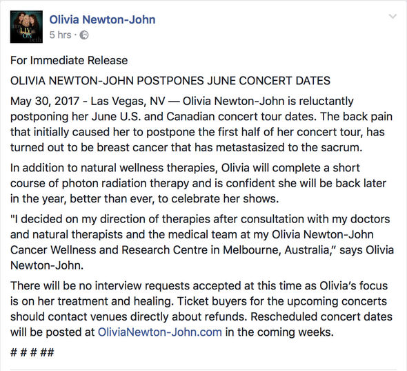 The news of Olivia Newton-John's diagnosis