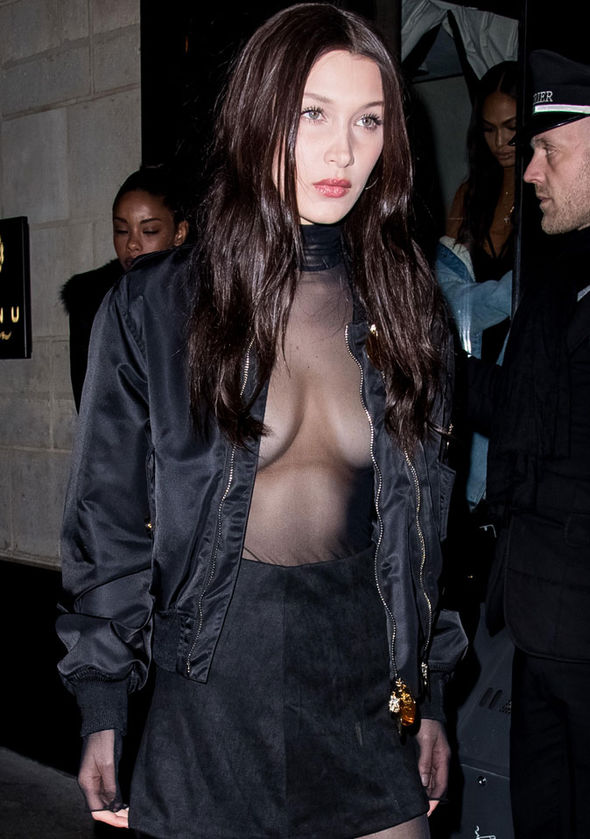 Bella protected her modesty with a black and gold bomber jacket as she left Kinu Japanese restaurant
