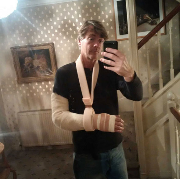 Richard Madeley broke his arm after falling on ice earlier this week