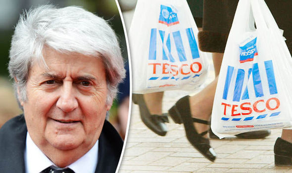 Tom Conti and people with Tesco shopping bags