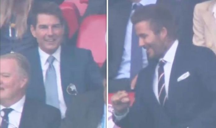 David Beckham and Tom cruise distract fans with fist pump as pair celebrate England goal