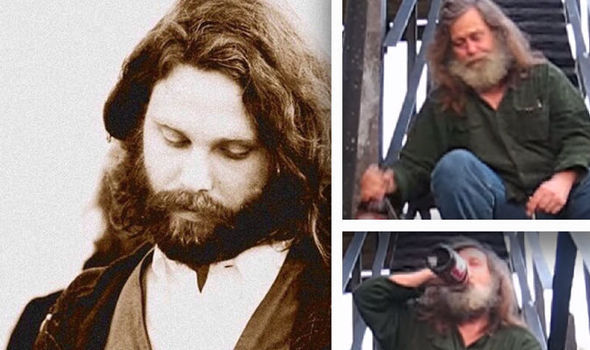 Jim Morrison in 1970 (left) and (right) allegedly as Richard in 2009