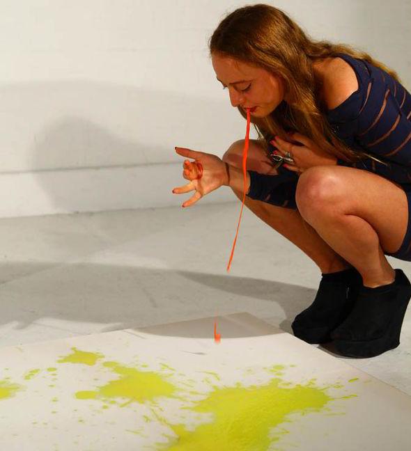 This Art Is SICK Strange Vegan Woman Vomits Dyed Soya