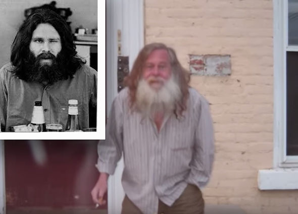 Jim Morrison larks for the camera shortly before his death (inset) and the man does the same last year