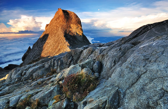 The stunning peak of Mount Kinabalu under normal conditions