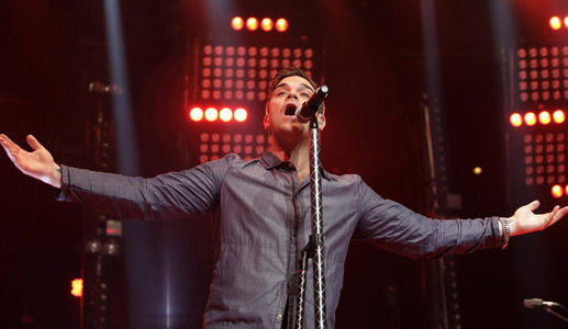 Robbie Williams performs at the BBC Electric Proms