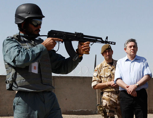 Prime Minister Gordon Brown makes a surprise visit to Afghanistan but the quirky camera angle puts him in the firing line