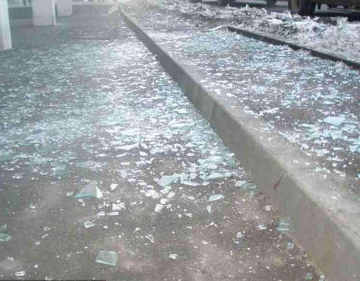 Broken glass and debris reportedly caused more than 500 injuries after the shower