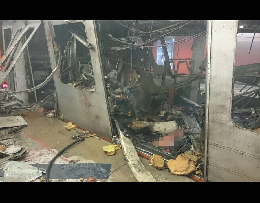 Horrifying image apparently shows devastation after blast on Metro carriage