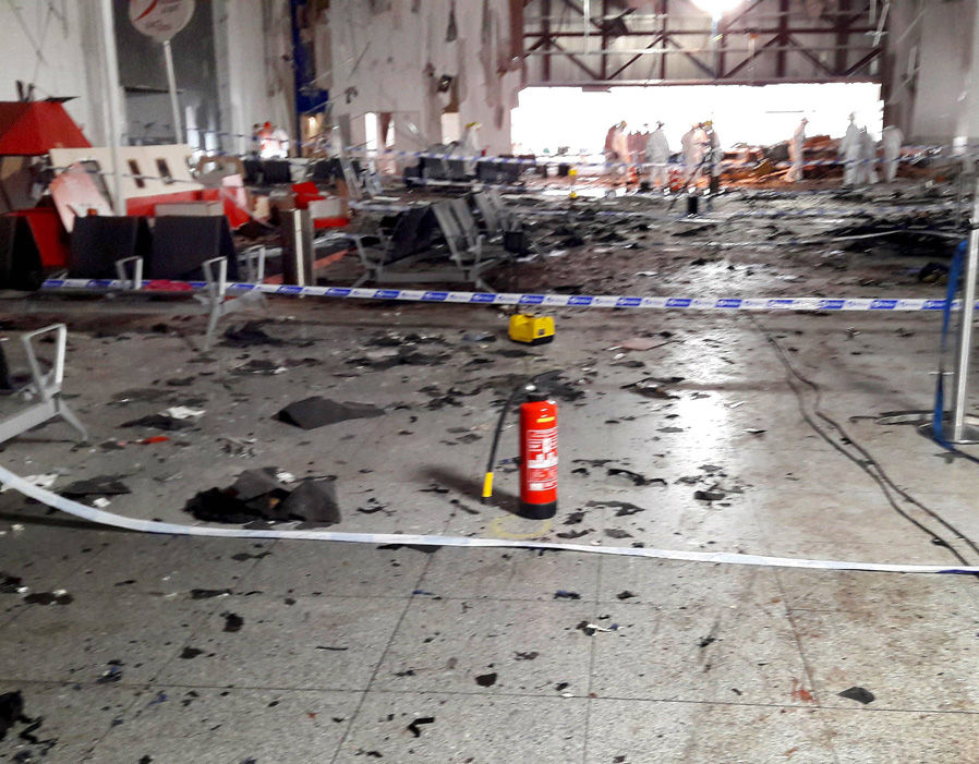 Damage is seen inside the departure terminal following the March 22, 2016 bombing at Zaventem Airport, in these photos made available to Reuters by the Belgian newspaper Het Nieuwsblad