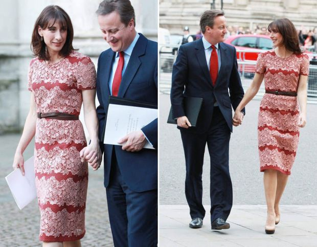 Samantha Cameron arrives at Westminster Abbey for Somme centenary service in red and pink lace dress