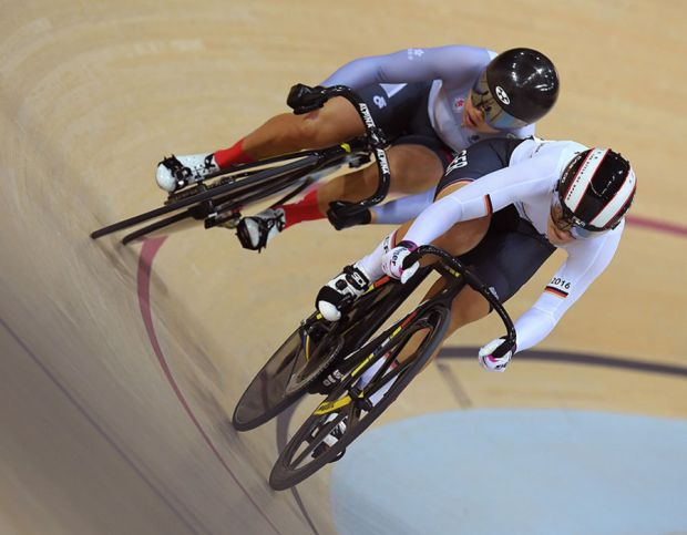 Kristina Vogel of Germany leads Wai Sze Lee of Hong Kong, China during a Women's Sprint Quarterfinal race against Wai Sze Lee of Hong Kong, China on Day 11 of the Rio 2016 Olympic Games