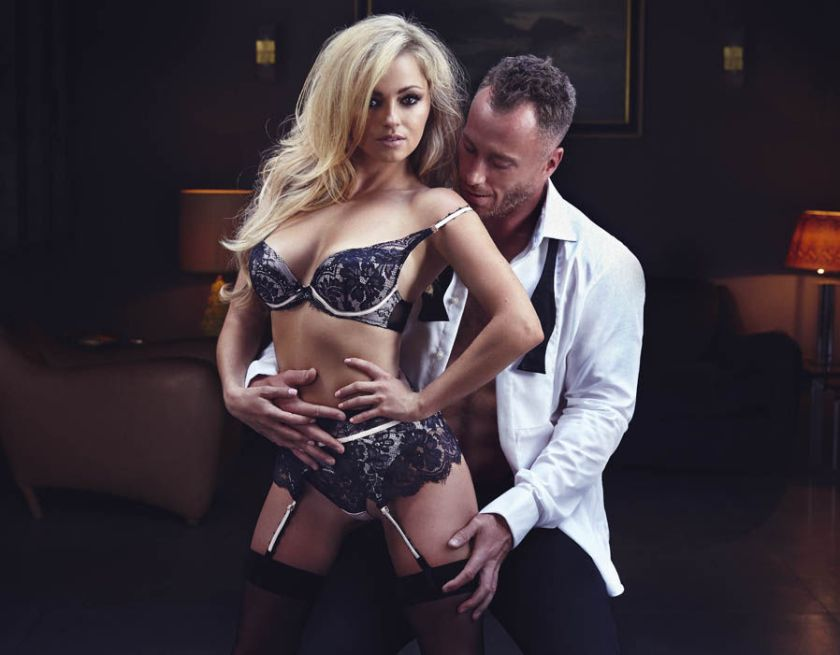 Ola shows off her fabulous figure in black lace lingerie with husband James in a loose shirt and tie