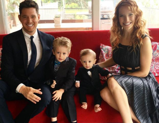 Michael Buble and wife Louisana with their sons Noah & Elias