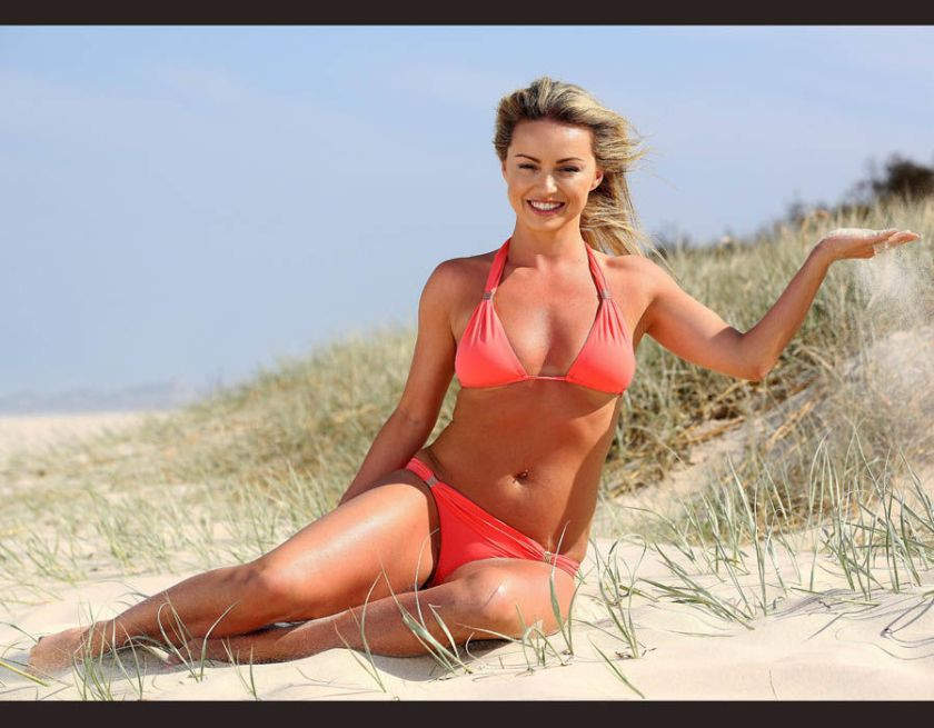 Ola Jordan poses on Queensland beach before going into the I'm a Celeb jungle camp
