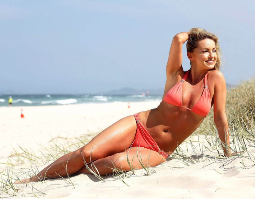 Ola Jordan shows off her sun-kissed bikini body on the beach