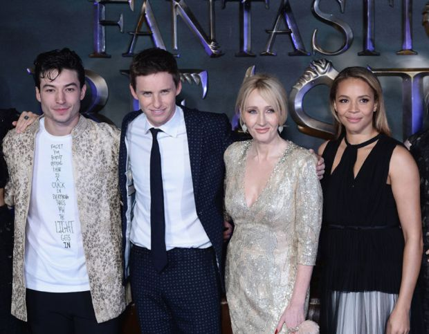 """Ezra Miller, Eddie Redmayne, J. K. Rowling, Carmen Ejogo and Alison Sudol attend the European premiere of """"Fantastic Beasts And Where To Find Them"""" at Odeon Leicester Square on November 15, 2016 in London, England"""