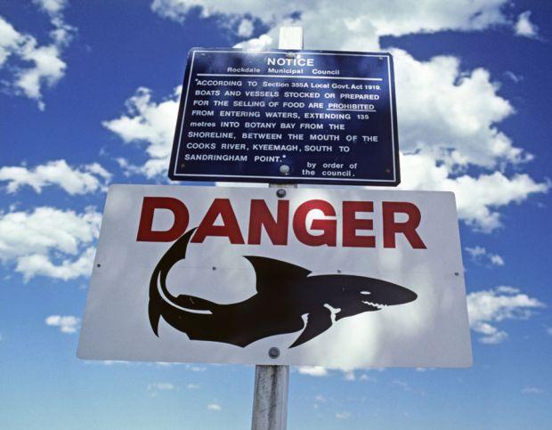Shark attack warning sign for bathers, Botany Bay, Sydney - Australia.