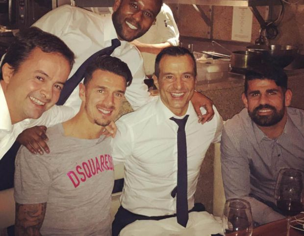 Jose Fonte and Diego Costa have dinner with Jorge Mendes