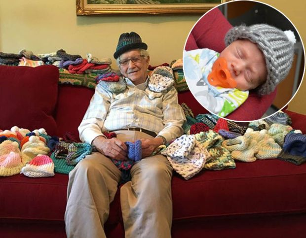 Grandad Ed Moseley, taught himself how to knit so he could make tiny hats for premature babies